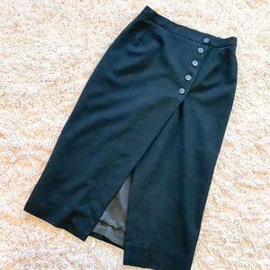 Vintage Black Button-Up Skirt With Front Slit